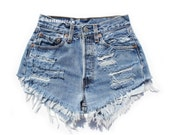 "ALL SIZES ""PLAINO2"" Vintage high-waisted denim shorts blue distressed frayed jeans"