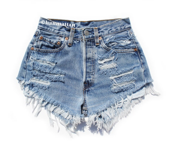 """ALL SIZES """"PLAINO2"""" Vintage high-waisted denim shorts blue distressed frayed jeans"""