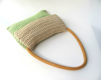 PuRse-Light brown  green- knitted purse Cotton Vintage wooden handles-for women--Retro-Chrsitmas gift   Free shipping