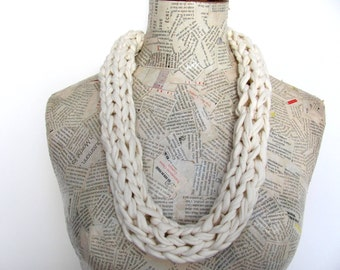 White Necklace-----Up-CycledTricot---