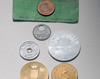 Vintage coins/tags - destash, commemorative coins, souvenier coins, Canadian souvenier, navy, good luck coin, base metal
