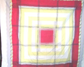 1950s PRINT KITCHEN TABLECLOTH - Plaid Pic Nic Cloth