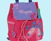 Personalized Child's Stephen Joseph Pink and Purple Quilted BALLET SHOES Backpack