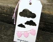 Baby Girl Gift Tag - Baby Shower - Congratulations - Tag - Cloud - Onesie