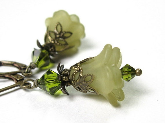 Flower Earrings, Swarovski Jewelry, Olive Green, Dangle Earrings, Antiqued Brass, Lucite Flowers, Soft and Feminine, Womens Accessories