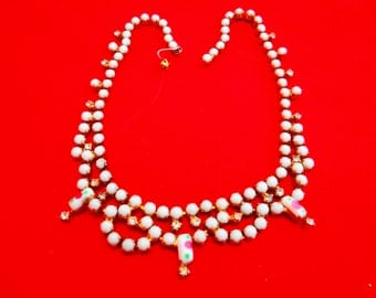 """Vintage 15"""" gold tone necklace with white milk stone and clear rhinestones in great condition, appears unworn"""