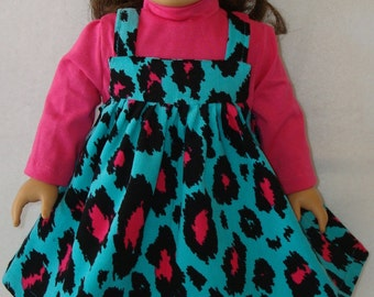 """18"""" doll Clothes/ Hot Pink Leopard/ Jumper and turtleneck shirt /READY TO SHIP/Made to fit 18"""" Dolls like  American Girl Doll"""