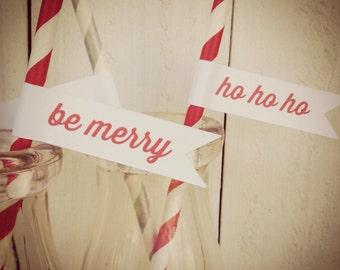 Be Merry & Ho Ho Ho Party Straws Paper Straws Flags Christmas