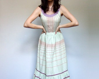Vintage Maxi Dress 70s Long Dress Ruffle Sundress Striped Pale Green Lilac Summer Dress - Extra Small XS