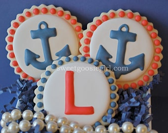 Preppy Anchor and Single Monogram Navy & Red Decorated Sugar Cookies