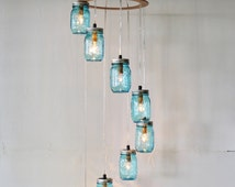Raindrops Spiral Mason Jar Chandelier,  8 Blue Jars, Handcrafted Upcycled Hanging Waterfall Lighting Fixture, BootsNGus Lights & Home Decor