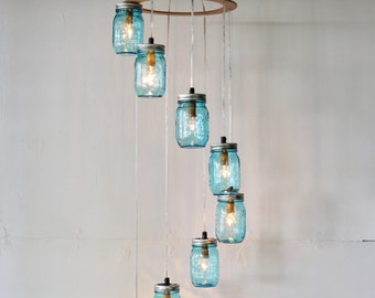 Blue Spiral Mason Jar Chandelier, 8 Falling Jars, Rustic Modern Handcrafted BootsNGus Chandelier Lighting Fixture, Bulbs Included