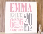 Personalized Nursery Art, Birth Announcement Decor, Baby Gift, Pink Decor, Baby Room Art. 20x20 Custom Birth Canvas - Pink/Gray