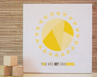 You Are My Sunshine Wall Art, Sun, Rhymes, Baby Decor, Yellow. 10x10 You Are My Sunshine Canvas