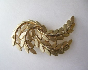 Golden Leaves Brooch, signed Trifari pin