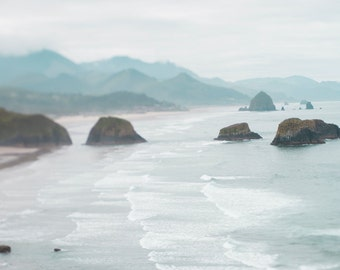 Oregon Coast Photograph - Cannon Beach, Waves, Mist, Sea, Teal Landscape Photograph, Nautical Wall Decor