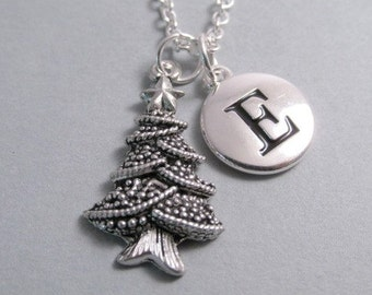 Christmas Tree, Holiday Necklace, Tree Charm, Tree Keychain, Silver Plated Charm, Engraved, Personalized, Monogram