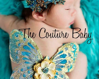 GOLDEN TURQUOISE Couture Newborn Headband ONLY Photo Prop First Photos