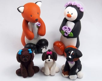 Animal Wedding Cake Topper, Fox and Penguin, Handmade Figurines, Personalized Gift, Pets, Dog Figurines, Unique Wedding Decoration