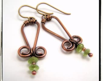 034 Green Peridot Gemstone Wire Wrapped Dangle Copper Hypoallergenic Earrings