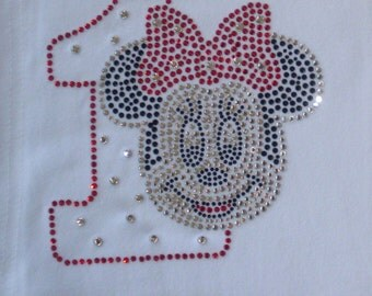 Minnie Mouse 1st Birthday iron on rhinestone transfer in red/clear for shirt WHOLESALE available