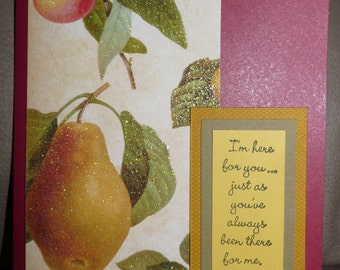 I'm Here for You - Handmade Card - Glittered Cardstock - Sympathy - Get Well - Encouragement - FREE Shipping