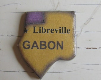 Gabon and Equatorial Guinea Puzzle Pin Pendant or Manget