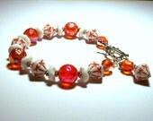 Tangerine Dreams - Vintage Tangerine and Milky White Glass Bead Bracelet