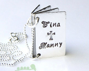 Charm necklace - hand stamped mother necklace - book charms - kids name charms - family names love story book charm necklace