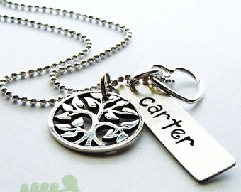 Mommy hand stamped necklace - Family tree name necklace - Tree of life charm for mom or grandma