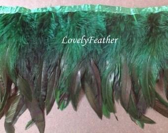 Coque feather fringe of dark green irridescent 2 yards trim