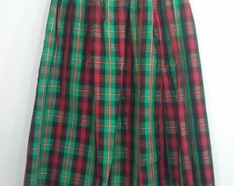 80s plaid skirt green red holiday punk boho dress grunge
