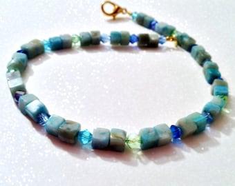 Oceanic Jasper and Swarovski Crystal Anklet - Tidal II