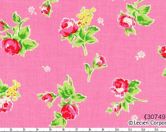 CLEARANCE, FLOWER SUGAR 2013 Japanese, Lecien, Tossed Roses in Pink, 1/2 yard