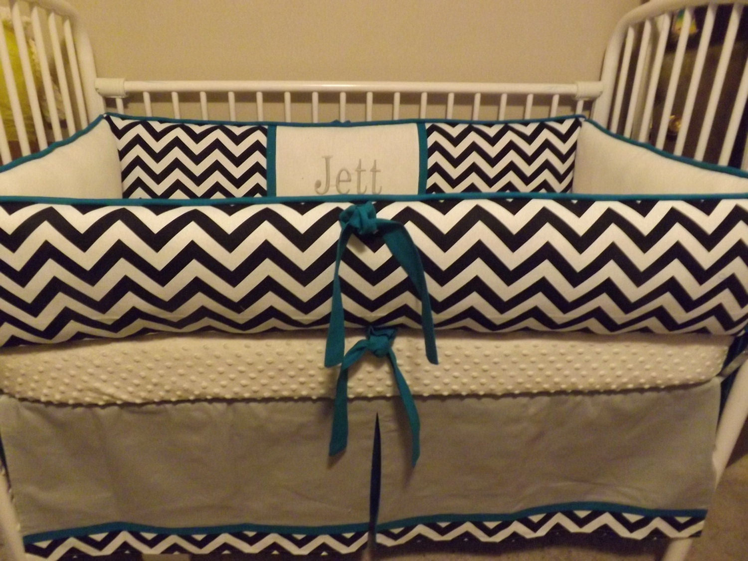 baby bedding crib set with gray teal and navy chevron deposit