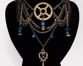 Victoriana Necklace - Statement piece - OOAK Unique Steampunk Gothic Clockwork Neo Victorian Jewellery
