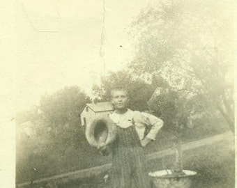 Farm Boy Holding Derby Hat Standing in Striped Overalls Antique Vintage Black and White Photo Photograph