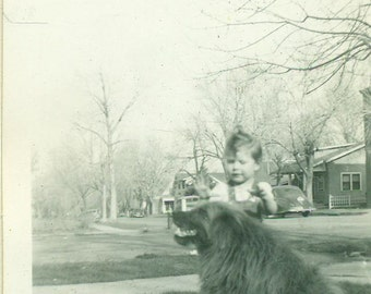 Giant Dog and Little Toddler Girl Standing Outside Vintage Black White Photo Photograph