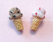 Lot of 10 Resin Ice Cream Cone Cabochon...2 Colors...Button...N103
