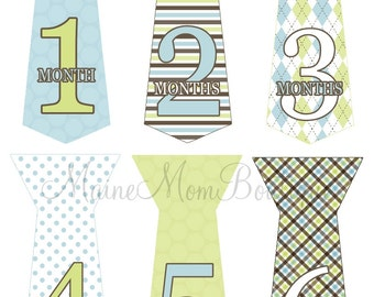 FREE GIFT, Baby Monthly Tie Stickers, Baby Boy Month Tie Stickers,  Baby Boy Gift  Blue Green Brown Milestone Sticker, Just Born
