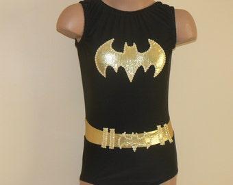 BATGIRL Inspired Toddlers Girls Leotard. Batgirl Gymnastics Leotard. Dancewear. Batgirl Performance Leotard. Size 2T through Girls 10