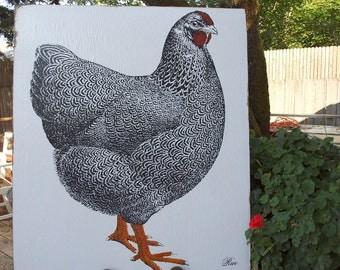 WYANDOTTE CHICKEN - 30 x36 - Farmhouse Chic - French Country - RuPiper Designs Original