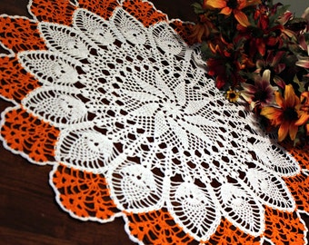 Crochet Lace White and Orange Table Topper