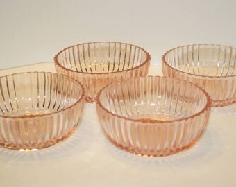 Queen Mary, Prismatic Line, Vertical Ribbed Berry Bowls by Anchor Hocking