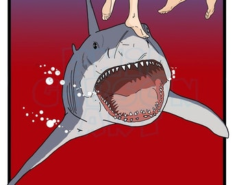 """Original Jaws """"Don't Go In The Water"""" Art Print Poster Great White Shark"""