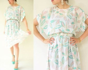 80's Vintage White Chiffon Leaf Print Kimono Sleeve Dress / Full Skirt / Midi Length