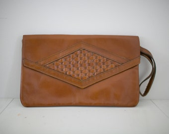 Vintage Woven Brown Leather Boho Clutch