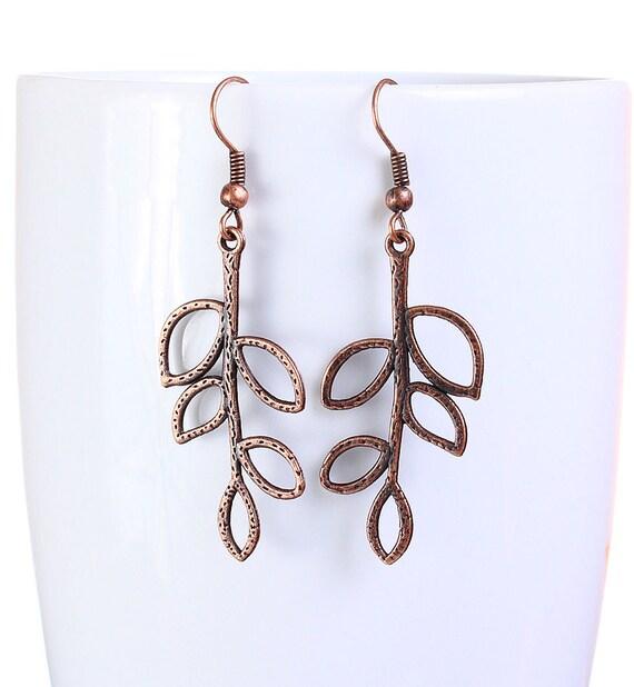 Flat rate shipping earrings - Antique copper leaf drop earrings dangle earrings (817)