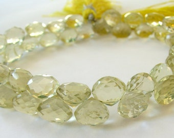 AA Lemon Quartz Briolettes, Faceted Onion Candy Kiss Beads, 8 inch FULL strand, 6.5mm (8k49a)