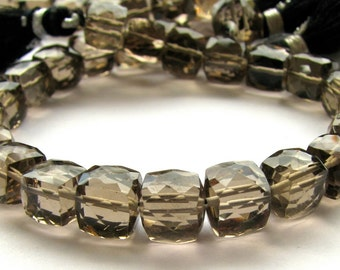 AA Smoky Quartz Faceted Cubes - 8 inch full strand of beads 8 - 8.5mm (3m21)